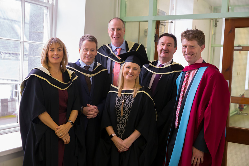 31/10/2018. Waterford Institute of Technology (WIT) Conferring Ceremonies 2018. Pictured are Heather Reynolds, Ken Healy, Martin Power, Jacqui Gaulle, Padraig Dunne and Tom Egan Course Leader . Picture: Patrick Browne