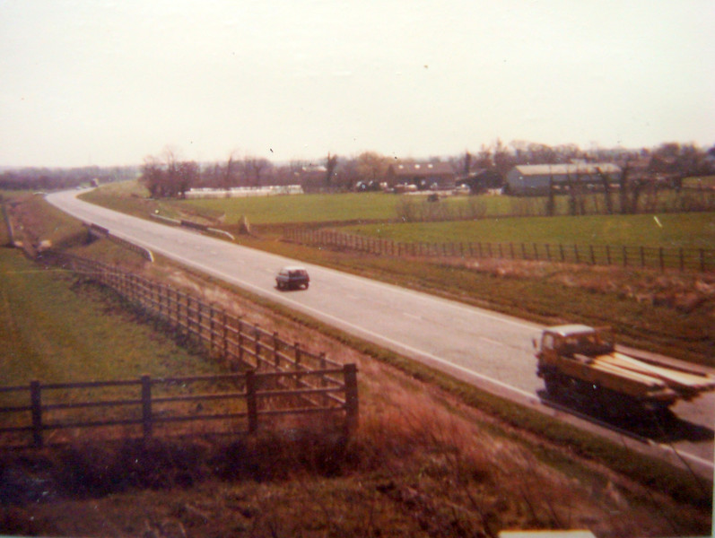 View of the recently-opened A604 Spaldwick bypass (eventually renamed the A14). Note that there was a single carriageway in each direction, although it was extended to dual carriageway later. Photo provided by S1.
