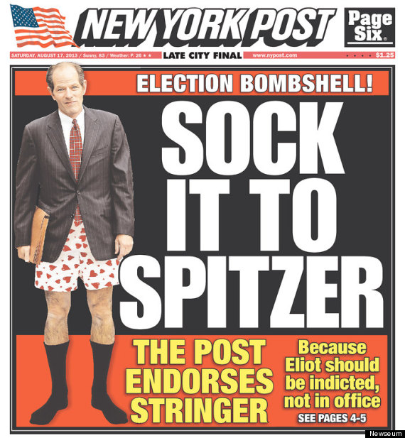 """. <p>10. (tie) ELIOT SPITZER <p>Sentient New Yorkers starting to panic that Client Number Nine is actually going to WIN. (previous ranking: unranked) <p><b><a href=\'http://www.mediaite.com/online/sock-it-to-spitzer-ny-post-endorses-scott-stringer-with-brutal-cover/\' target=\""""_blank\""""> HUH?</a></b> <p>   (New York Post cover)"""