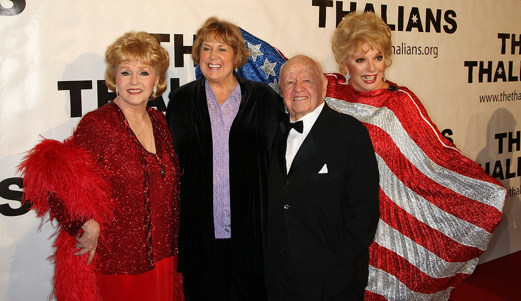 . (L-R) Actresses Debbie Reynolds, Pam Rooney and actor Mickey Rooney and actress Ruta Lee attend the 54th annual Thalians Ball at the Beverly Hilton Hotel on November 1, 2009 in Beverly Hills, California.  (Photo by Frederick M. Brown/Getty Images)