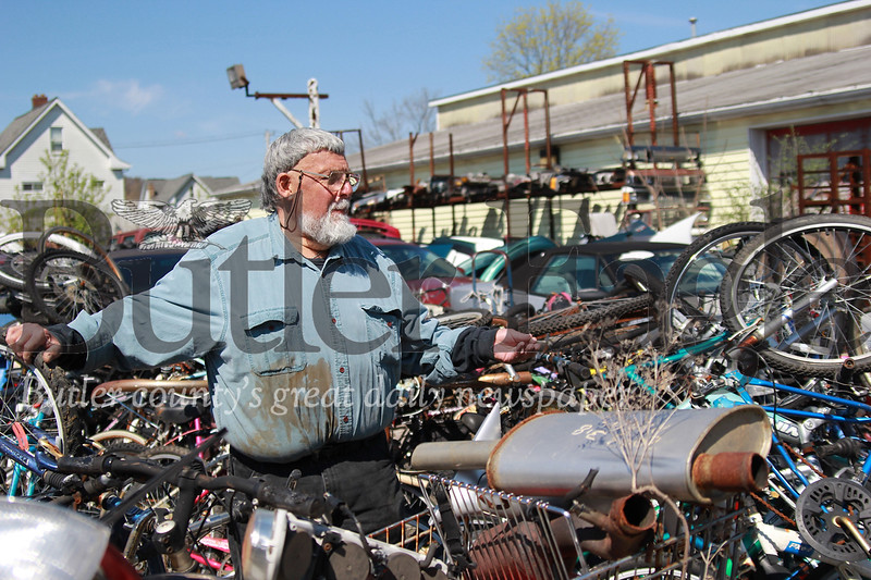 Denny Offstein of Denny Offstein Auto Sales shows some of the bikes he's collected  for this year's Bike Rodeo.  Bike Rodeo Story: Denny Offstein Auto Sales. (Seb Foltz/Butler Eagle)