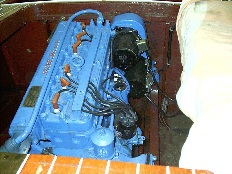 Engine wiring and plumbing disconnected so engine can be removed.
