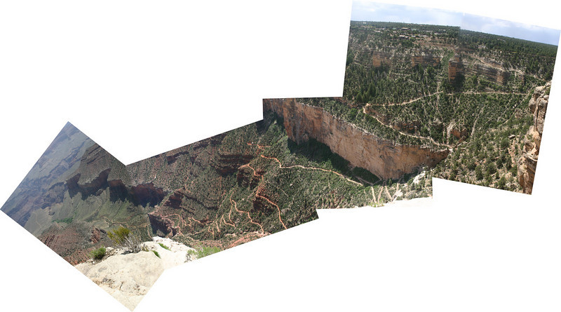 A composite showing the Bright Angel Trail from Grand Canyon Village all the way out past Indian Garden and to the edge of the Plateau--after that, it drops another 1000 feet or more. Check out the switchbacks.