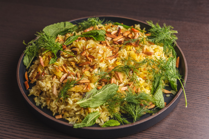 rice with herbs and almonds