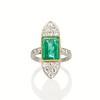 4.05ct Emerald and Old European Cut Diamond Ring 0
