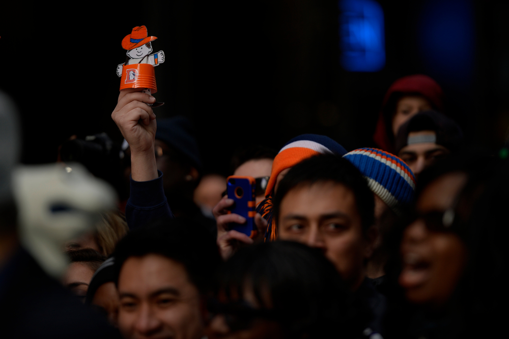 Description of . The Barrel Man showed up in the crowd as Bronco fans in Times Square get ready for Super Bowl XLVIII in New York, NY February 01, 2014 New York, NY (Photo By Joe Amon/The Denver Post)
