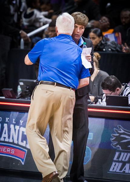 Head coaches Gail Striegler (LIU) and John Thurston (St.Francis)