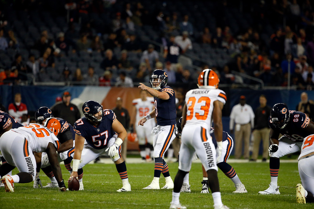 . Chicago Bears quarterback Connor Shaw (9) calls a play during the second half of an NFL preseason football game against the Cleveland Browns, Thursday, Aug. 31, 2017, in Chicago. (AP Photo/Nam Y. Huh)