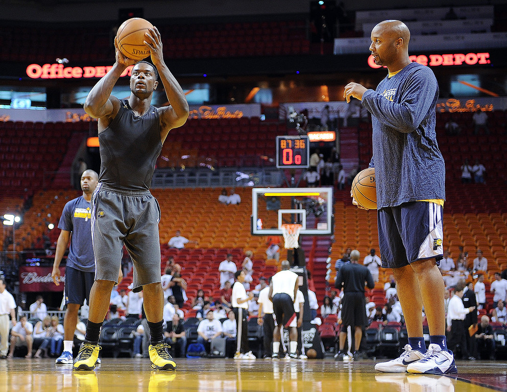 . Indiana Pacers assistant head coach Brian Shaw, right, watches as Lance Stephenson before the Pacers\' game agains the Miami Heat on May 24, 2013.   (Matt Kryger / The Indianapolis Star)