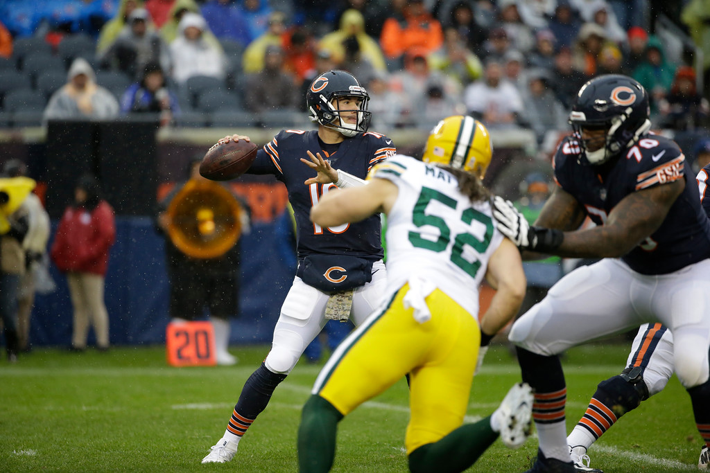 . Chicago Bears quarterback Mitchell Trubisky (10) throws a pass during the first half of an NFL football game against the Green Bay Packers, Sunday, Nov. 12, 2017, in Chicago. (AP Photo/Nam Y. Huh)