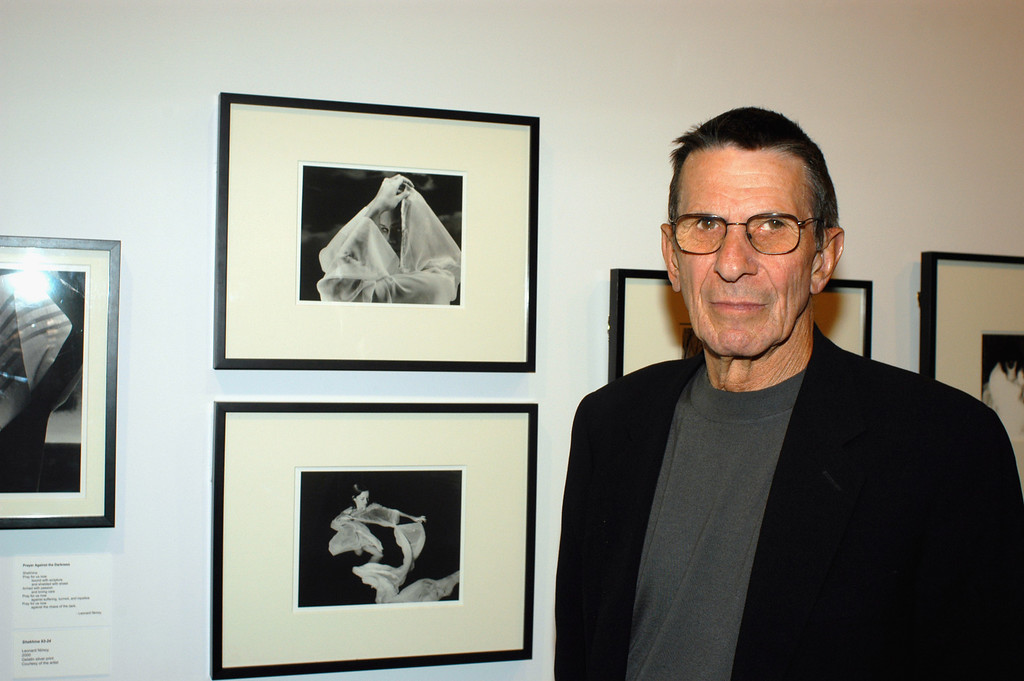 """. Actor Leonard Nimoy presents his photography exhibition and his book \""""Shekhina\""""  at the Skirball Cultural Center on September 25,2002 in Los Angeles, California. (Photo by Michel Boutefeu/Getty Images)"""