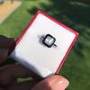 1.19ct Vintage Emerald Cut Diamond Onyx Ring, GIA E VS2 52