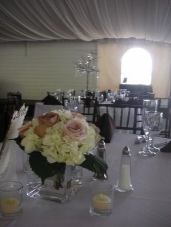 Roses,  white hydrangeas in sq  cube $55ea
