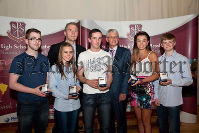 St Paul's High School Bessbrook, Senior Prizegiving on Thursday last.Pictured are students who received Awards for Outstanding Attendance over seven years at St Paul's, Francis O' Hanlon,Aine Rafferty,Jennifer Heslip,Alan Rigney,Michael Mc Cullough ,with Principle Mr Jarlath Burns, Mr John Campbell,Chairman of Governors.R1438708