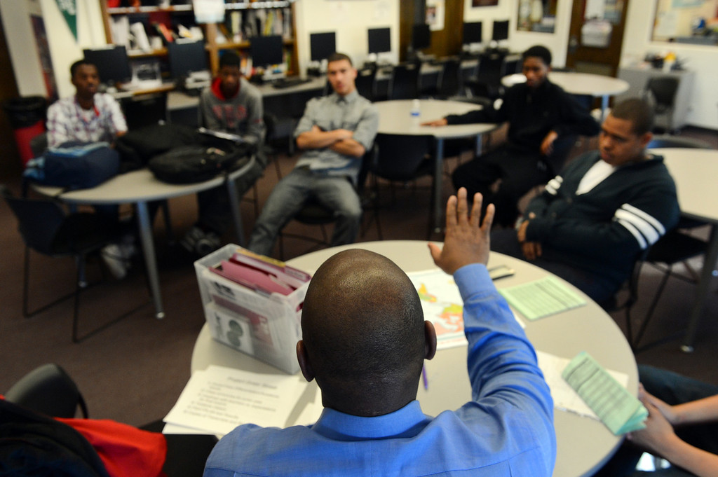 . DENVER, CO. - FEBRUARY 12: Ronald Sally leads a Project Greer Street meeting at East High School in Denver, CO February  07, 2013. The academic program promotes achievement among male African-American high school students. (Photo By Craig F. Walker/The Denver Post)