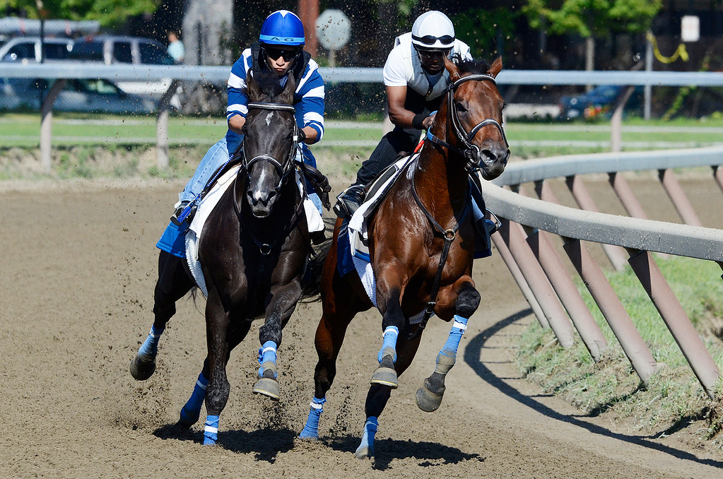 . Alan Garcia, outside, atop War Dancer set to run in the Travers breezed on Saturday morning on the Oklahoma Training Track with Danny Ramsey atop So Raise Yourglass.Photo Erica Miller 8/17/13 WarDancer2