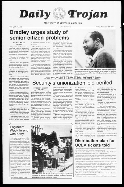 Daily Trojan, Vol. 66, No. 76, February 22, 1974