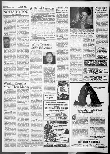 Daily Trojan, Vol. 45, No. 82, February 26, 1954