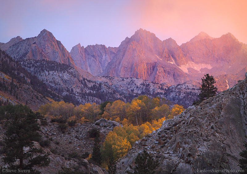 Fall Color in Bishop Canyon under an intense sunset.