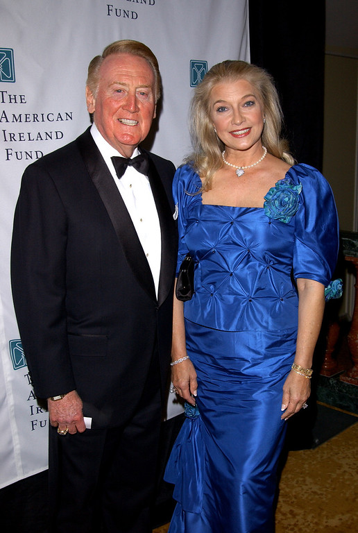 . Sportscaster Vin Scully and his wife Sandra attend the American Ireland Fund Gala April 17, 2002 in Los Angeles, CA. (Photo by Sebastian Artz/Getty Images)
