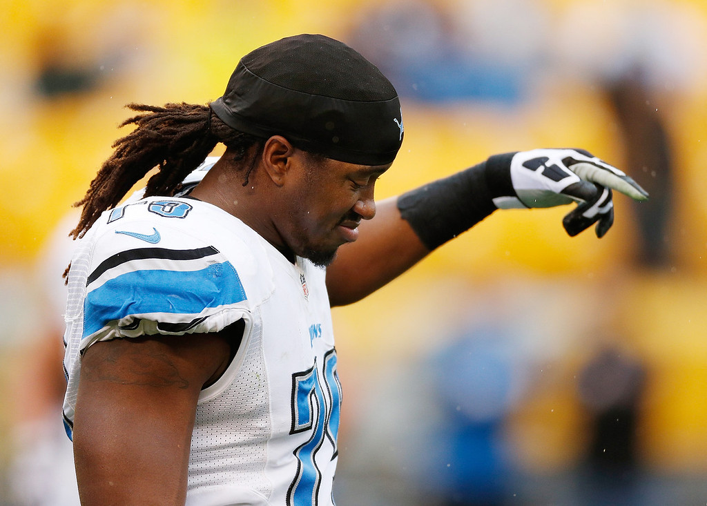 . Willie Young #79 of the Detroit Lions warms up prior to playing the Pittsburgh Steelers at Heinz Field on November 17, 2013 in Pittsburgh, Pennsylvania.  (Photo by Gregory Shamus/Getty Images)