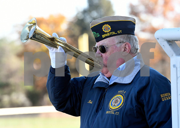 11/11/2017 Mike Orazzi | Staff Post 2 Honor Guard member Bob Coffee during Bristol's Annual Veterans Day Ceremony held at the West Bristol School Saturday morning.