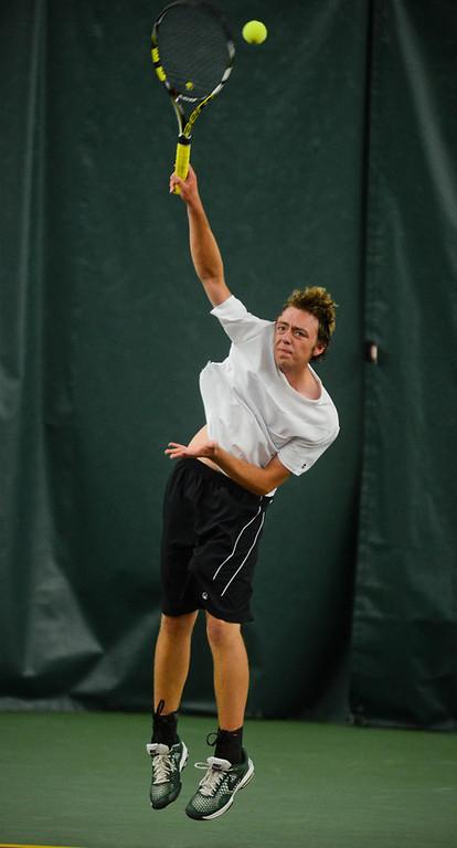. Cody Lloyd of Mounds View serves to Anuraag Bukkuri of East Ridge in the State Class AA Boys\' Tennis Tournament team quarterfinals. Bukkuri won 6-2, 6-2. (Pioneer Press: Ben Garvin)