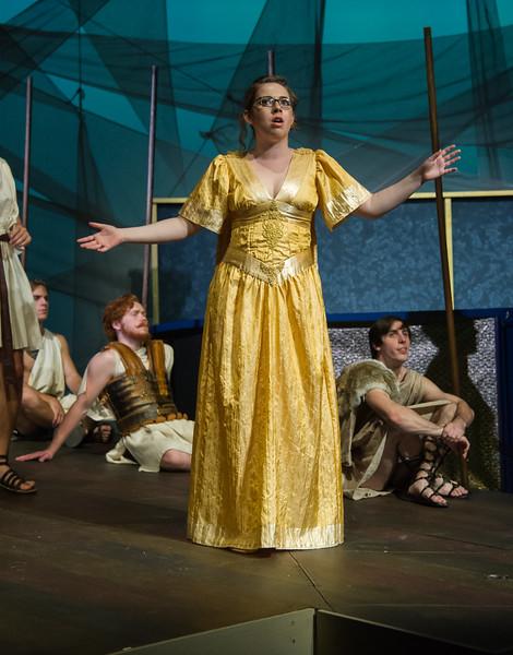Student Hallie Auerback plays Athena in Argonautika.