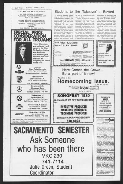 Daily Trojan, Vol. 87, No. 17, October 09, 1979