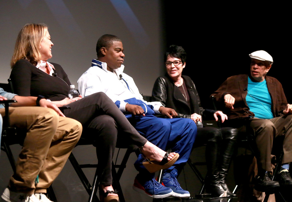 """. (L-R) Director Marina Zenovich, actor Tracy Morgan, Jennifer Lee Pryor and author Walter Mosley speak on stage at Tribeca Talks: The Artist\'s Angle \""""Richard Pryor: Omit The Logic\"""" during the 2013 Tribeca Film Festival on April 24, 2013 in New York City.  (Photo by Robin Marchant/Getty Images for Tribeca Film Festival)"""