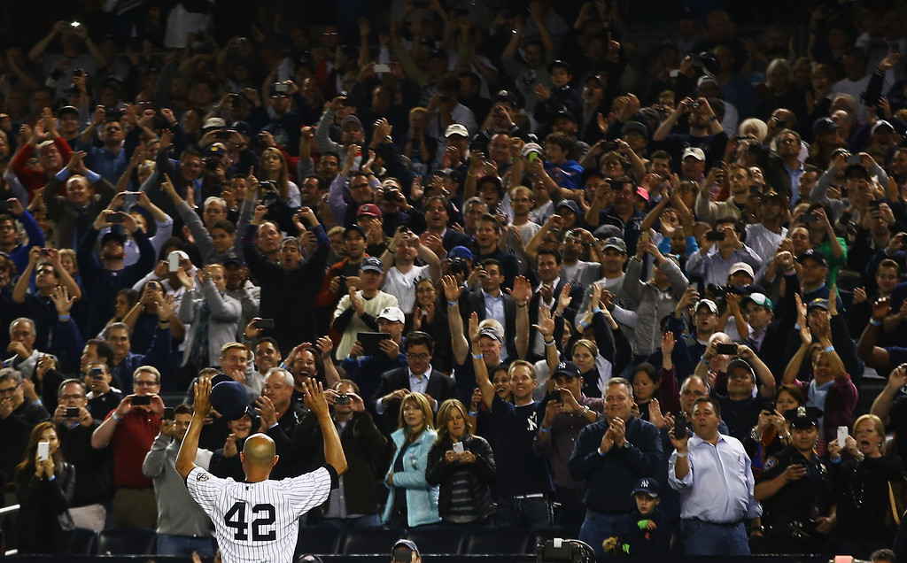 . NEW YORK, NY - SEPTEMBER 26:  Mariano Rivera #42 of the New York Yankees waves to the crowd after leaving the game against the Tampa Bay Rays in the ninth inning  during their game on September 26, 2013 at Yankee Stadium in the Bronx borough of New York City.  (Photo by Al Bello/Getty Images)