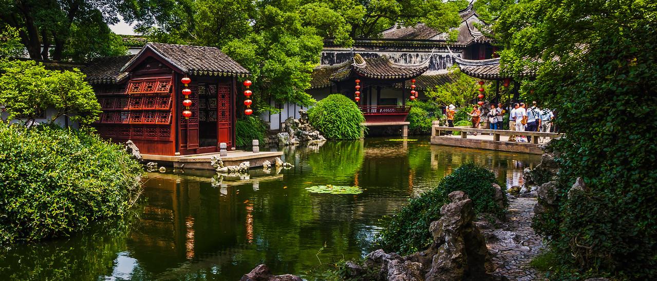 中国江苏同里,水乡庭院