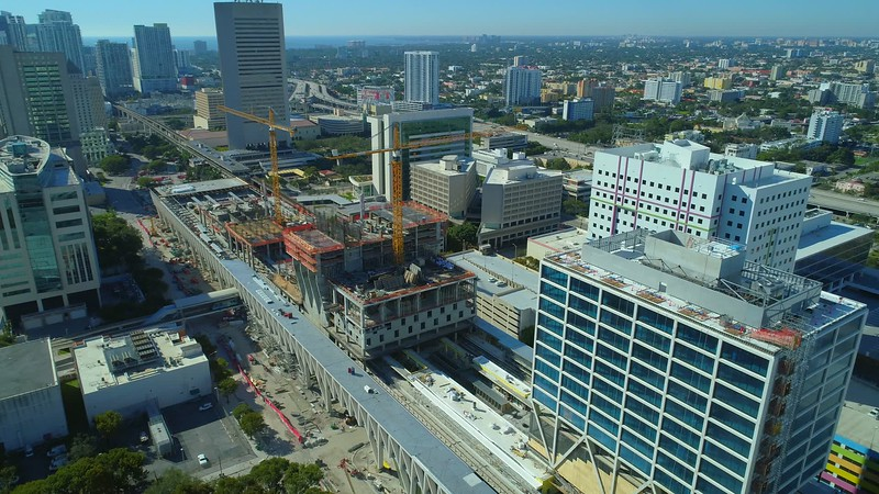 Construction of Brightline Central Station Downtown Miami FL 4k 24p