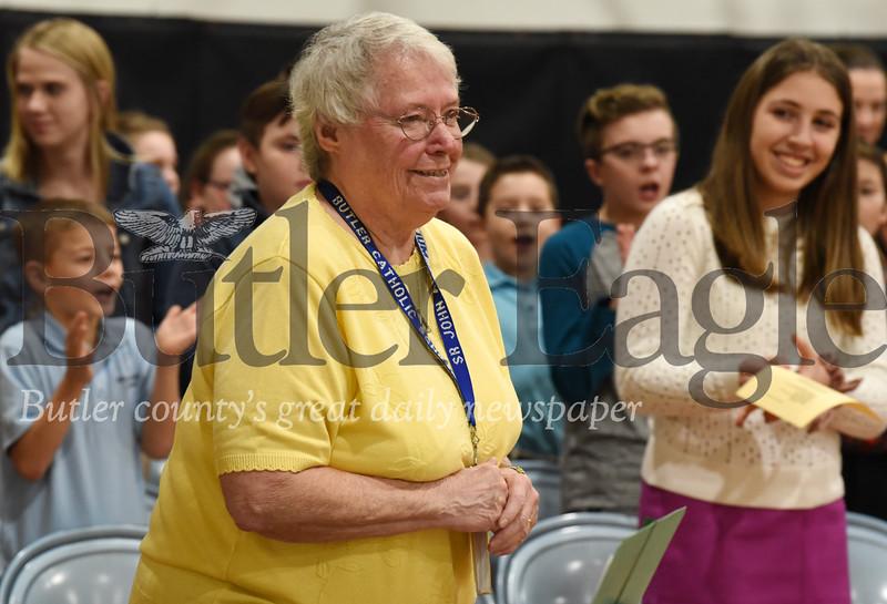 Harold Aughton/Butler Eagle: Bishop Zubik recongizes Sister John Ann Mulhern, principal of Butler Catholic Monday afternoon, January 27, 2020.