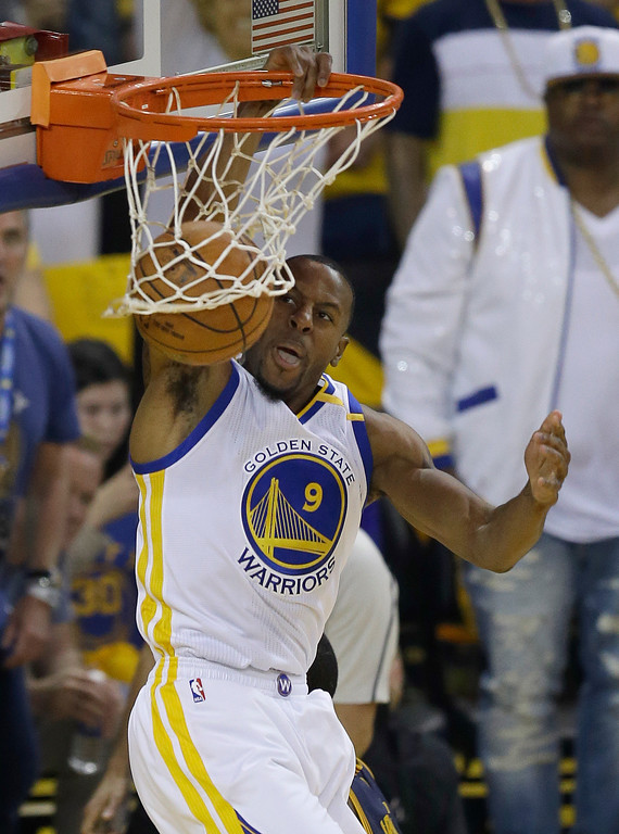 . Golden State Warriors forward Andre Iguodala (9) dunks against the Cleveland Cavaliers during the first half of Game 1 of basketball\'s NBA Finals in Oakland, Calif., Thursday, June 1, 2017. (AP Photo/Ben Margot)