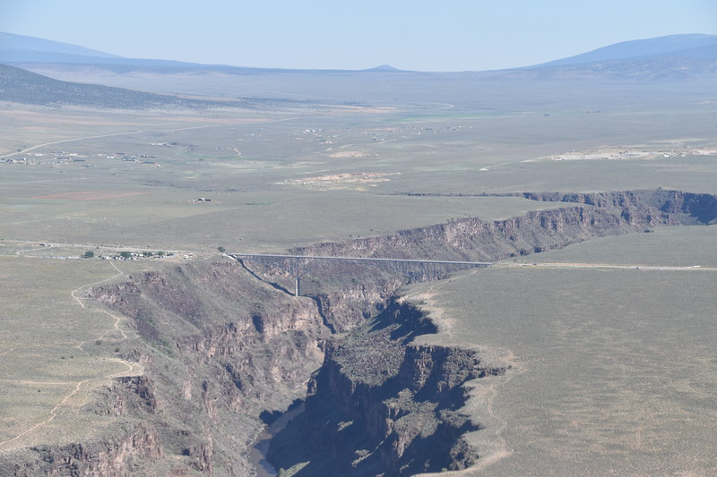 Gorge and bridge seen while departing Taos airport