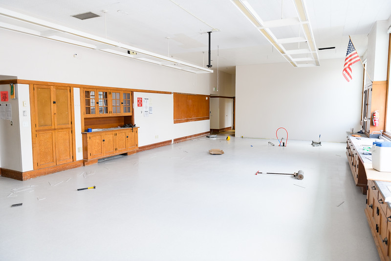 Vinyl composition tile (VCT) being installed in a North Salem High School science classroom on Friday, August 16, 2019, in Salem, Ore.