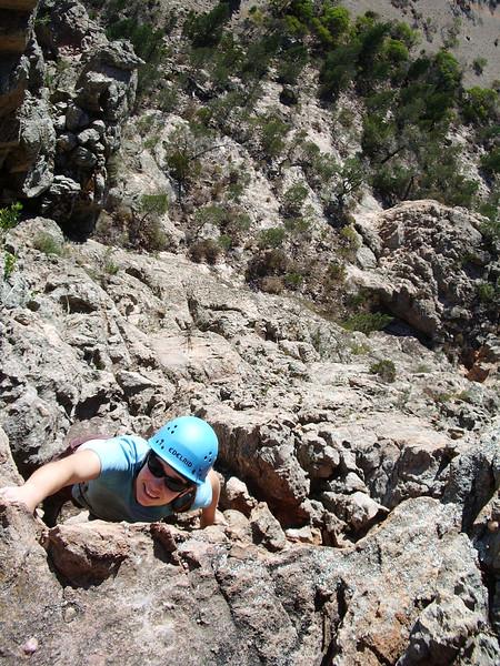 Amanda soloing Tiptoe Ridge  130m 5.  Photo: Bernardo
