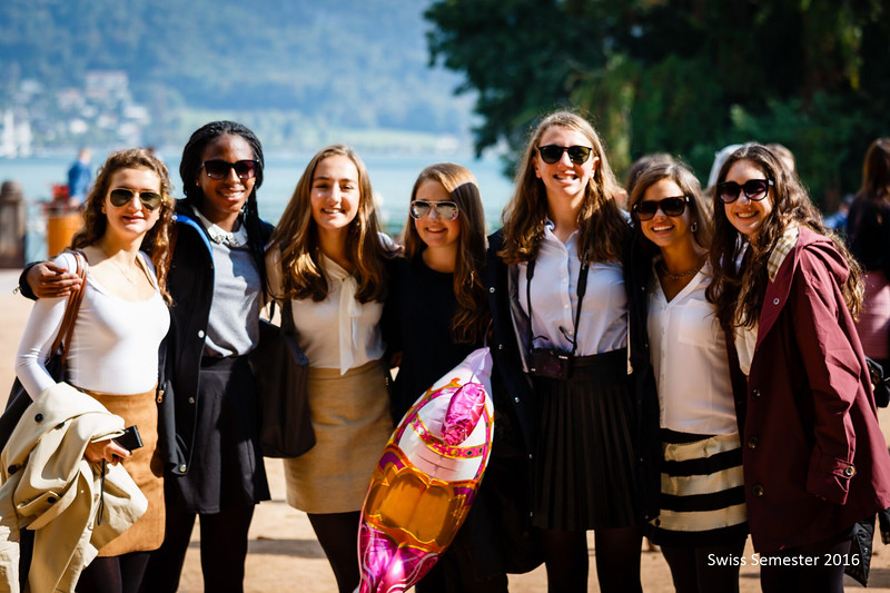 Laila, Alyssa, Phaedra, Paige, Emily, Whitney, and Claire with Lac Annecy in the background