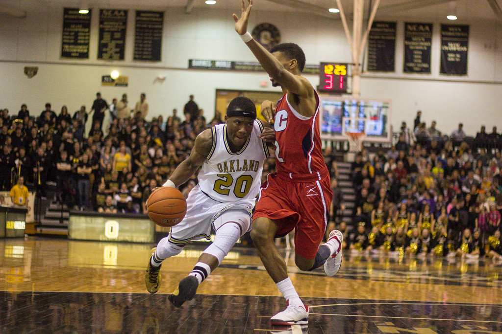 . Felder trucks toward the basket for a lay-up. Photos by Dylan Dulberg/The Oakland Press