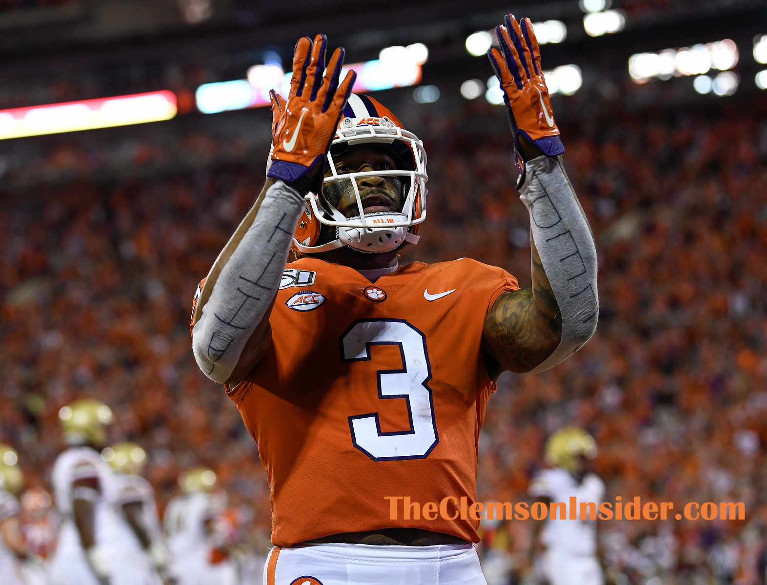 Clemson wide receiver Amari Rodgers (3) blows a kiss to the fans on the hill after scoring against Boston College Saturday, October 26, 2019 at Clemson's Memorial Stadium. Bart Boatwright/The Clemson Insider