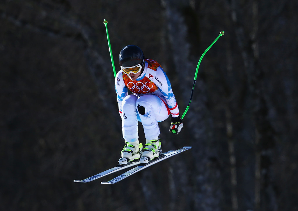 . Elisabeth Goergl of Austria skis during the Alpine Skiing Women\'s Downhill on day 5 of the Sochi 2014 Winter Olympics at Rosa Khutor Alpine Center on February 12, 2014 in Sochi, Russia.  (Photo by Doug Pensinger/Getty Images)