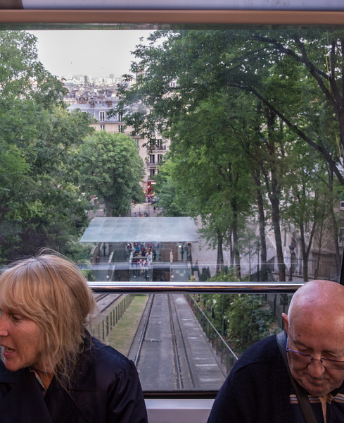Montmartre is reached by stairs and cable car.  This is looking back at the cable car station.