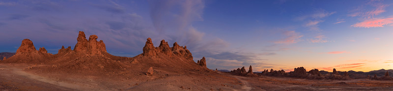 Trona Pinnacles Sunset Panorama