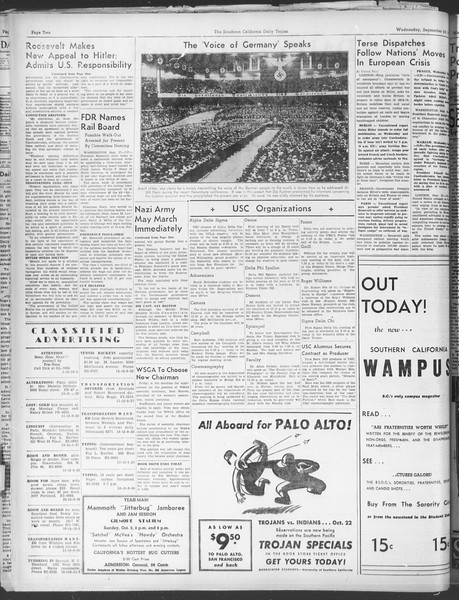 Daily Trojan, Vol. 30, No. 8, September 28, 1938