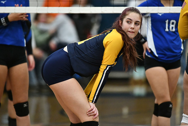 11/16/2019 Mike Orazzi | StaffrWoodstock Academy's Sierra Bedard (1) during the 2019 State Girls Volleyball Tournament Class L Quarterfinals at BEHS in Bristol Saturday. r