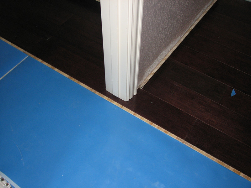 A closeup of the flooring around the closet door into the closet.
