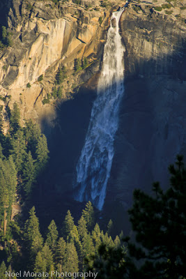 Nevada Falls streams down the mountain. It's a great view when you go hiking in Yosemite.