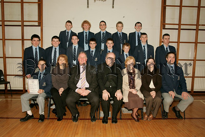 St Colmans College Junior prizegiving. Pictured with the platform party led by Principal Dr Francis Brown are the pupils who recieved the form class awards.