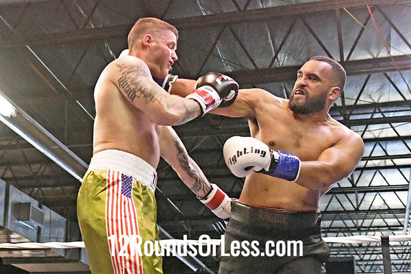 Bout #3: Ammy Boxing, James Caison, Blue Wrist Wraps, 217 Lbs -vs- John McConaughey, Red Wrist Wraps, Heavywt, 220 Lbs
